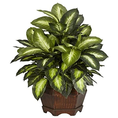 "Nearly Natural 6639 24in. Golden Dieffenbachia Silk Plant,Green,12"" x 12"" x 35"""