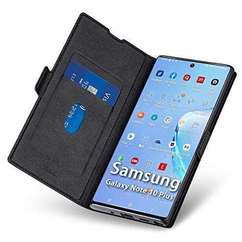 Aunote Samsung Galaxy Note 10 Plus Hülle, Samsung Note 10 Plus Schutzhülle mit Kartenfach, Handyhülle Tasche, Leder Etui Folio, Flip Cover Hülle, PU TPU Klapphülle Note10 Pro 5G 6.8 Phone Schwarz