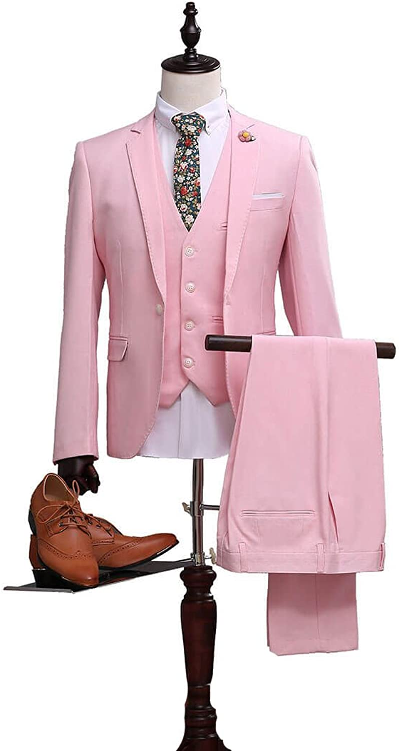 0fe7b2bc0ee Mens Pink Suit Slim Fit Notch Notch Notch Lapel Wedding Tuxedo 8eeb8d