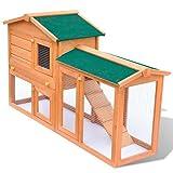 tidyard Clapier Large d'Extérieur 2 Etages avec Plusieurs Usages pour Petits Animaux de Compagnie en Bois 140 x 46 x 85 cm