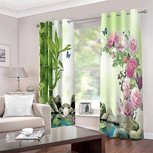 Gzclian gordijnen, ondoorzichtig, met ogen, 3D bamboe, bloemen, thermogordijnen, isolerend