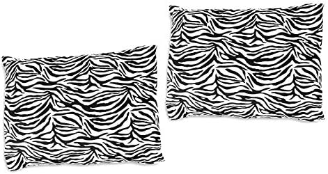 2 Zebra Print Travel Pillow Cover 14 5 x 20 with Zipper Closure Black White Animal Print Small product image