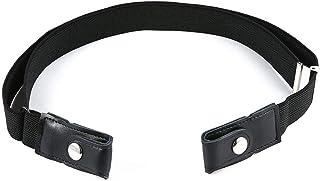 No Buckle Stretch Belt for Women - AOLVO Buckle Free Adjustable Belt - Black Elastic Waist Invisible Belt for Jeans Pants ...