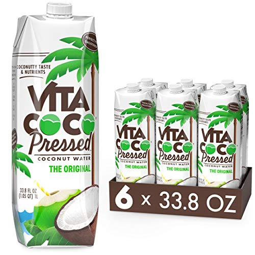 """Vita Coco Coconut Water Pressed Coconut More """"Coconutty"""" Flavor Natural Electrolytes Vital Nutrients 33.8 Pack of, 202.8 Fl Oz, (Pack of 6)"""