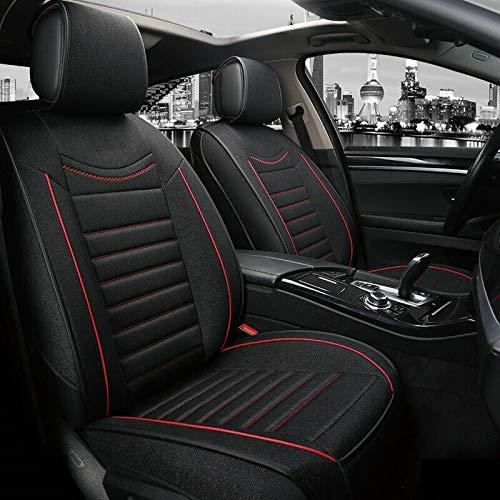 flexzon Para todos los coches 1+1 de calidad universal, tela negra, transpirable, lujosa, gruesa, fundas de asiento delantero