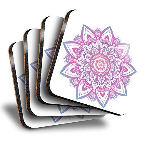 Destination Vinyl ltd Great Posavasos cuadrados (juego de 4) – Mandala indio Boho Yoga Drink brillante posavasos / protección de mesa para cualquier tipo de mesa #19369