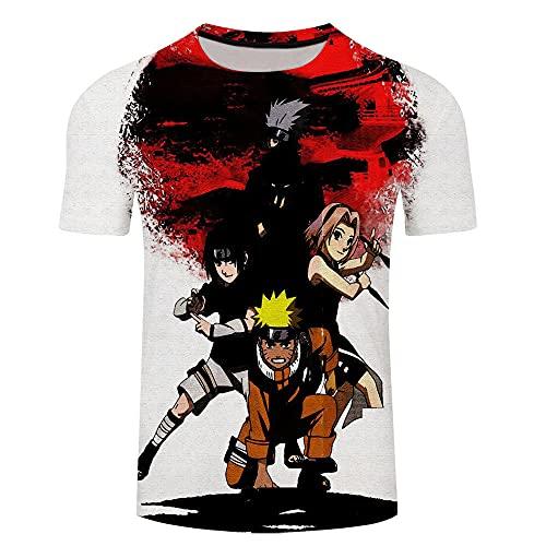 Japonesa Anime Mangas Cortas Camiseta,Imagen de Dibujos Animados de Cuello Redondo 3D Naruto de Manga corta-Xt314_Grande