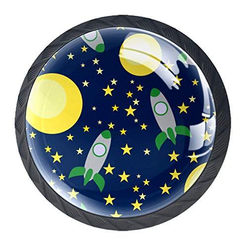 4 pomos redondos para aparador – Colorido decorativo floral cajón manija decoración del hogar Hardware tirador de cohetes espaciales planetas