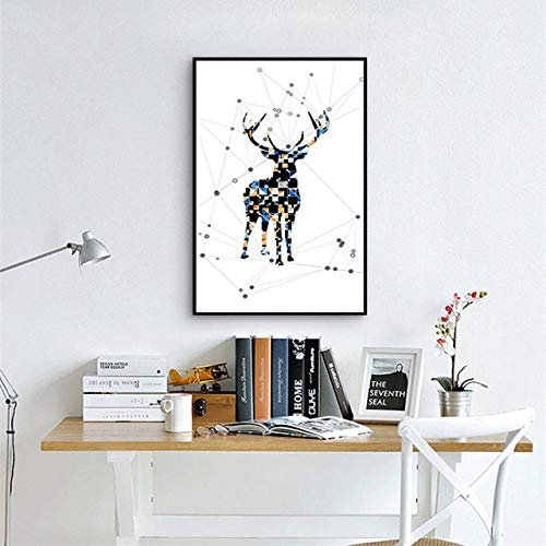 N / A Geometric Deer Minimalism Canvas Painting Animal Oil Painting Poster Space Sense Mural Home Decoration Frameless 70x100cm