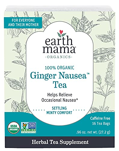 Earth Mama Organic Ginger Nausea Tea Bags for Occasional Sickness, Green, 16 Count