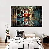 Impresiones abstractas de la pintura al óleo de la calle de la ciudad del tranvía en el cartel del arte de la pared de la lona para la decoración del hogar de la sala de estar (sin marco) 60x80CM