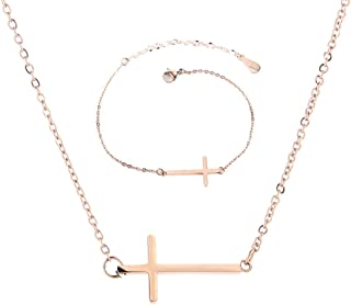 Sideways Cross Necklace Bracelets Set Rose Gold-Tone Silver-Tone