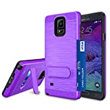 Galaxy Note 4 Case, Note 4 Card Holder Cover, Jeylly Purple