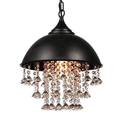 Industrial Vintage Retro Pendant Light-LITFAD Edison Metal Globe Shade Hanging Ceiling Chandelier Pendant Lamp Fixture Black Finish with 6 Lights