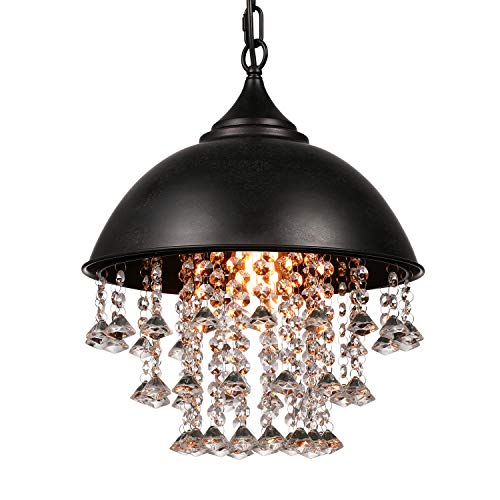 "LITFAD Industrial Pendant Lamp Wrought Iron Vintage Retro Crystal Pendant Light - Adjustable 13"" Edison Metal Hanging Ceiling Light Chandelier with Hanging Crystal for Restaurant Living Room Cafe"