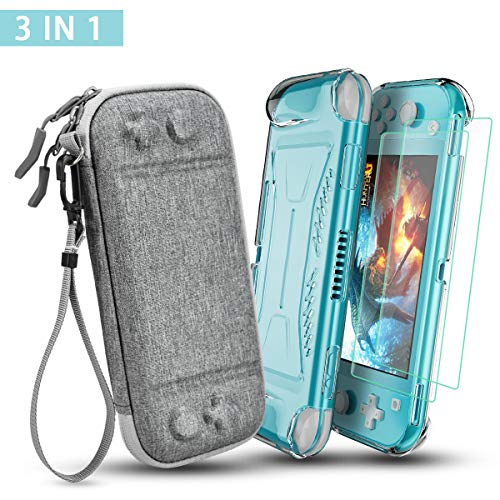 DLseego Compatible with Nintendo Switch Lite Carrying Case with TPU Grip Clear Case & [2 Pack] Screen Protector, Portable Travel Carry Case 3 in 1 Accessories Kit with 10 Game Cartridges-Gray