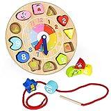 Orologio Giocattolo in Legno, Orologio Numeri in Legno per Bambini Tavole Montessori Gioch...