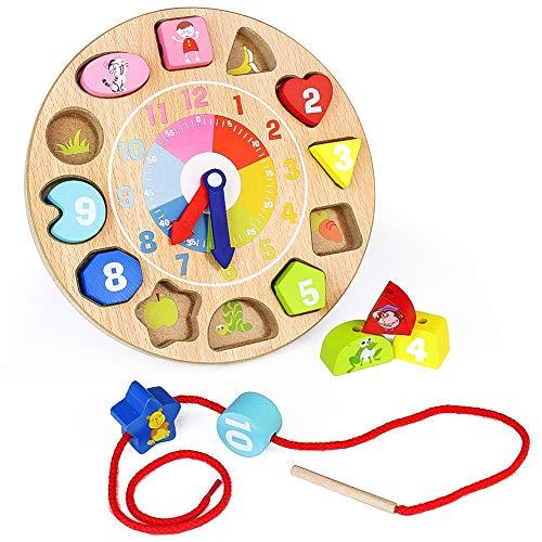 Nuheby Reloj de Madera Juegos Educativo Calendario Infantil Juegos Montessori Hilo Cuentas de Madera Patrones Animales Juguetes de Madera para 3 4 5 6 Años