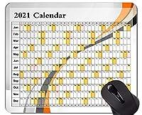 2021 Galaxy Calendarマウスパッド、ロックエッジ付き、曲線ラインテーマゴム製マウスパッド