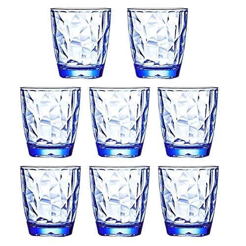 Camisin Vaso para beber, plástico, sin bisfenol A, taza de jugo pequeño, azul, 8 piezas