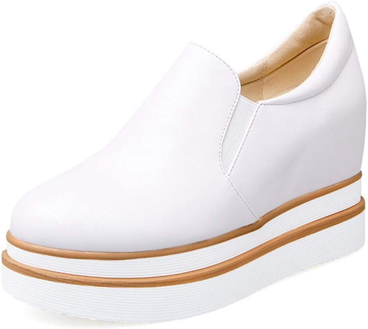 Beautiful - Fashion Women Fashion Low Top Flat Wedge Platform Sneakers Increased Height Slip On Casual Sports shoes