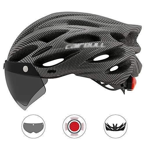 Tables Fahrradhelm MTB Mountainbike Helm Radhelm Rennradhelm mit abnehmbarem magnetischem Visier Abnehmbarer Sonnenschutzkappe und LED Rücklicht, CE Zertifiziert, 54~61CM