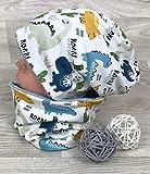 Beanie und Loop Set, Jersey Fleece Gr 44-54 Dino gelb blau kindermütze, mützen set junge fuchs jungenmütze