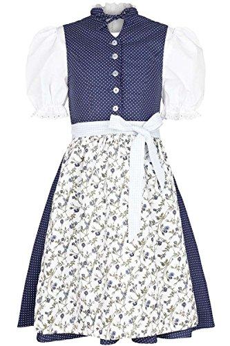 COALA Mädchen Mädchen Dirndl mit Bluse blau weiß, Blau, 134/140