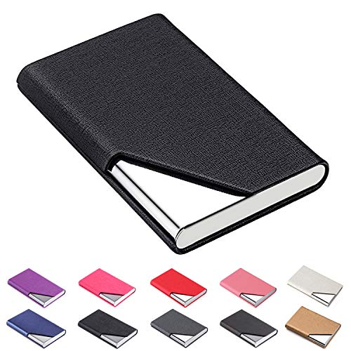 DMFLY Business Name Card Holder Luxury PU Leather & Multi Card Case, Business Name Card Holder Wallet Credit Card ID Case Holder for Women & Men - Keep Your Business Cards Clean (Black1)