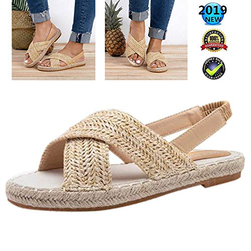 Sandals Wedges Peep Toe espadrilles Plateau V-hak dames zomer elegant enkelriem gesp wigsandalen vlak leer comfortabele casual schoenen, 2 cm hoge hak beige
