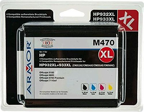 Armor b10306re Ink Cartridge–Ink Cartridges (Black, Cyan, Magenta, Yellow, HP, HP OfficeJet 6100ePrinter, 6600H711a, 6700Premium H711N, 7110Wide Format ePrinter, 7510Wide for)