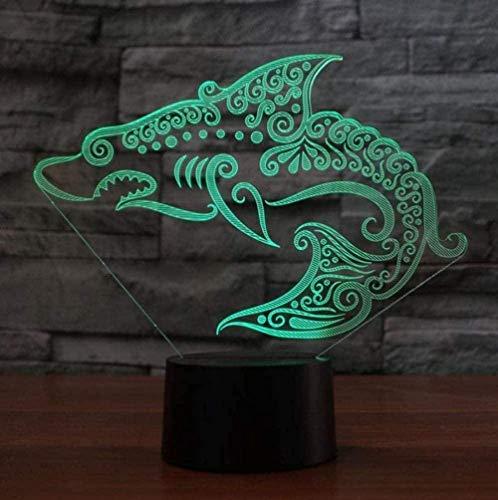 Baby Spielzeug Lámpara de mesa 3D 16 color cambiante LED táctil fascinante tribal tiburón noche luz USB habitación noche decoración regalos