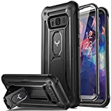 YOUMAKER Kickstand Case for Galaxy S8, Full Body with Built-in Screen Protector Heavy Duty Protection Shockproof Rugged Cover for Samsung Galaxy S8 5.8 inch - Black/Black