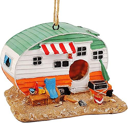 Wohnwagen als Vogelhaus Gartendeko für Außen Vogelnistkasten Futterhaus für Vögel Vogelhäuschen Dekofigur Wohnwagen