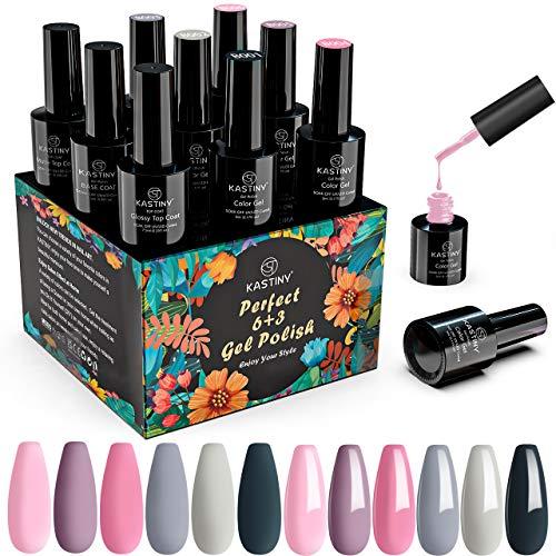 Gel Nagellack, Kastiny 6 Farben Gel Nagellack UV Set, Lange Andauernd Soak Off Gel Nagellack, mit Base Unterlack & Top Überlack, Nudefarben