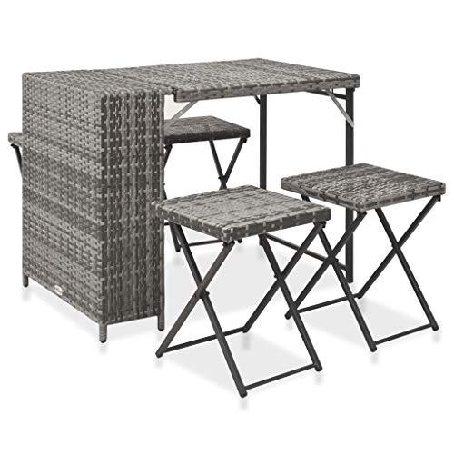 vidaXL Set de Comedor de Jardín Plegable 5 Piezas Mesa y Sillas Exterior Patio Terraza Conjunto Muebles de Moda de Comedor Ratán Sintético Gris