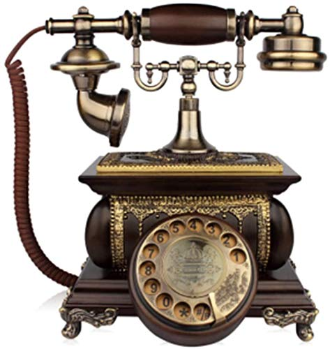 Dkdnjsk Teléfono Retro, Dial Rotary de madera Vintage, Dial Rotary Retro EUROPE Dial Teléfono Teléfono Sala de estar Hogar Moda Creativo Antiguo Madera Sólida Telefoneamiento Telefoneamiento Estilo Cu