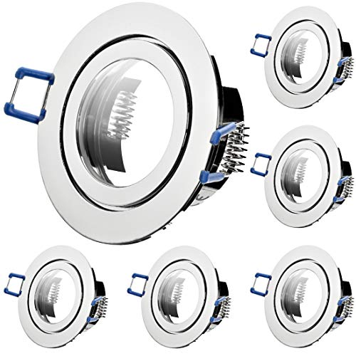 6 x Bad Einbaustrahler 12V inkl. MR16 Fassung Farbe Chrom IP44 Deckenspots Neptun Rund Einbauleuchten