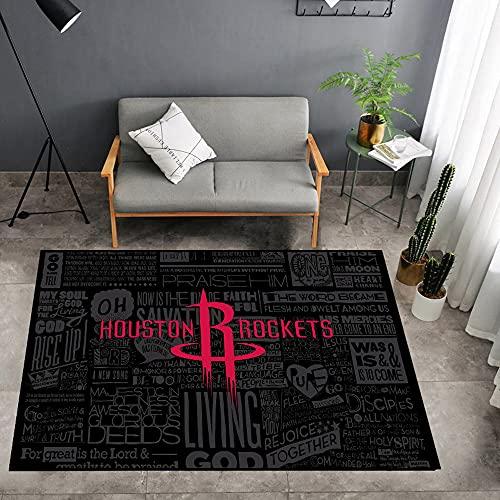 Tritow Houston Rockets Sala de Estar Alfombra de la NBA Alfombra Dormitorio EE. UU. NBA Logo Alfombrilla de Baloncesto Estampado 3D Interior/Exterior Sala Juegos Juegos Habitación Pasillo