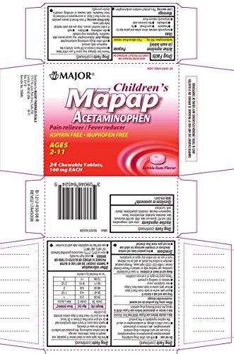 Major Children's Mapap Acetaminophen, 24 Chewable Tablets Each