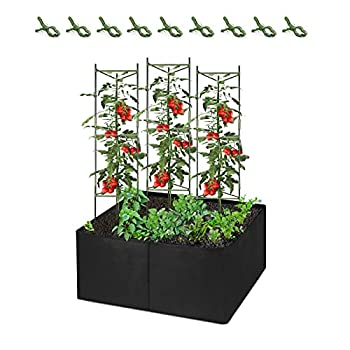 CEED4U 3 Packs 51 Inches Height Plant Cages with 3 x 3 Feet Fabric Raised Garden Bed and 9 Pcs Clips Assembled Tomato Garden Cage Stakes for Climbing Plants Tomatoes Vegetables Fruits