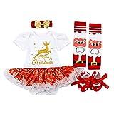 H.eternal(TM) - Juego de tutú para recién Nacido y niña, diseño de Ciervos y tutú, de 0 a 2 años, de Manga Larga, Ropa de bebé, Vestidos de bebé, Faldas para niños C 6-12 Meses