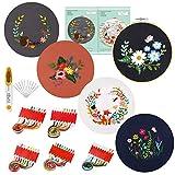 Caydo Kit de 5 juegos de bordado con patrón e instrucciones, kit de punto de cruz incluye 5 ropa de bordado con patrón floral, aro de bordado, hilos de color y herramientas.