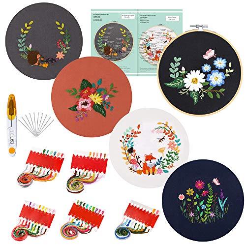 Caydo - Juego de 5 juegos de bordado con patrón e instrucciones, kit de punto de cruz incluye 5 ropa de bordado con patrón floral, 1 aro de bordado de bambú, hilos de colores y herramientas