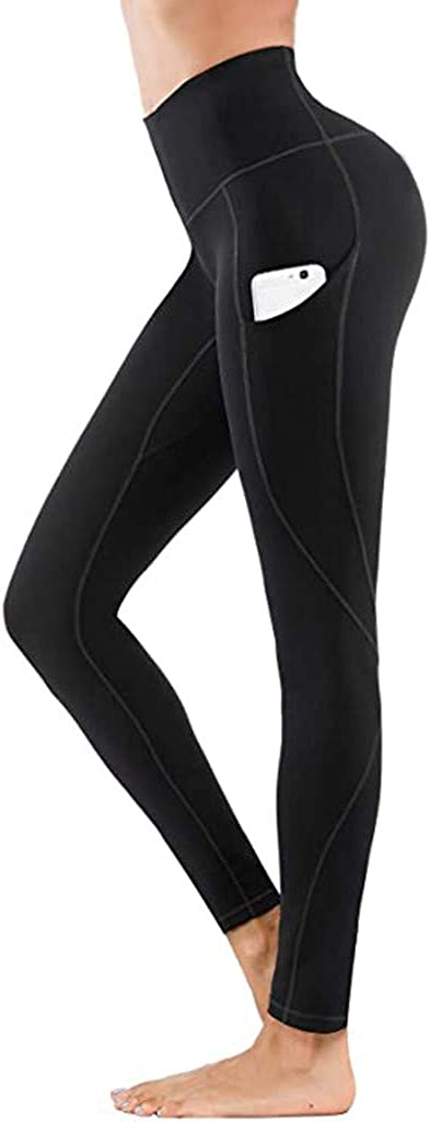 AODONG Yoga Pants for Women,Women's Anti Cellulite Leggings High Waisted Yoga Pants with Pockets Tummy Control Sport Tights