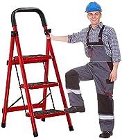Hcchzr. 3-5折りたたみステップラダー、ステップスツール容量200kg - 携帯用ラダースチールフレーム - 安全側の手すり滑り止め - ペダルキッチンとホーム脚注 (Size : 3 Steps with Handrails)