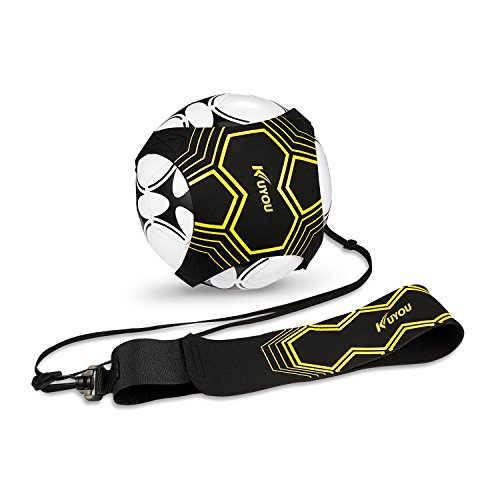 Kuyou Football Kick Trainer Soccer Training Aid for Kids and Adults Hands Free Solo PracticeVolleyballRugby Training Equipment Universal Fits 345 Footballs Yellow
