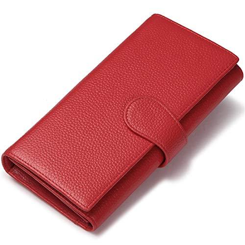 JEEBURYEE Cartera Monedero de Piel Mujer Gran Capacidad Larga Billetero Tarjeteros para Tarjetas de Credito con protección RFID Rojo