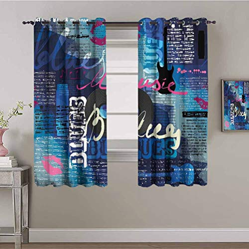 Old Newspaper Decor Curtain Panels Vibrant Collage Blues Genre Elements Guitar Record Hand Writing Kisses Daily use Multicolor W84 x L84 Inch