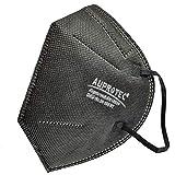 AUPROTEC 2 Stück AM-100-S4 Mehrweg Mundschutz Maske mit innen liegendem Vlies 5 lagig sehr gut für Mund- und Nasenschutz schwarz